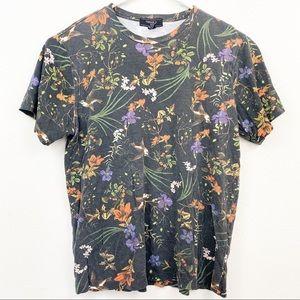 Forever 21 Black Floral Tee Shirt Size Large